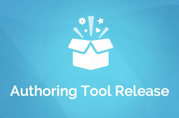 Header image - graphic of a gift box bursting open with the words Authoring Tool Release beneath.