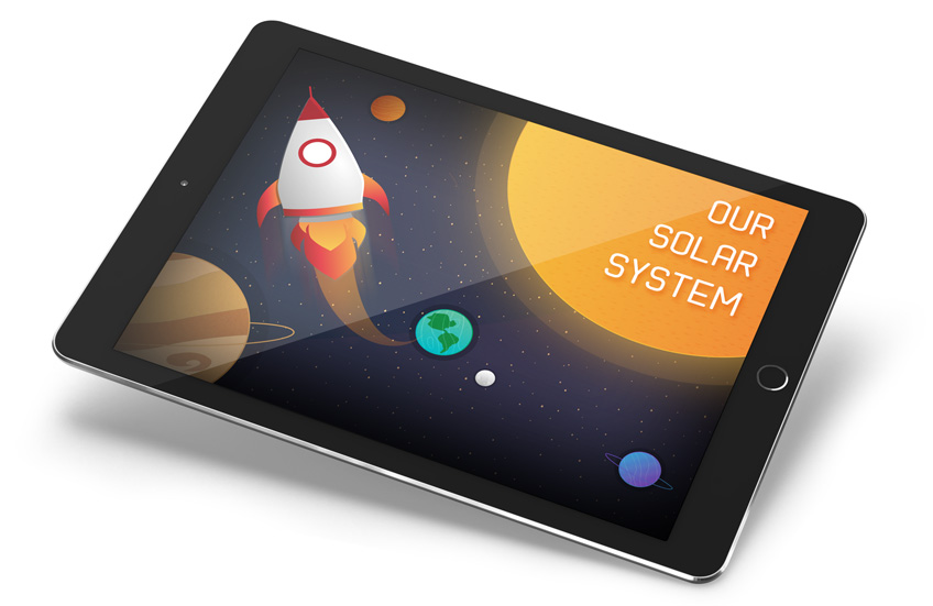 Solar system demo course on a tablet
