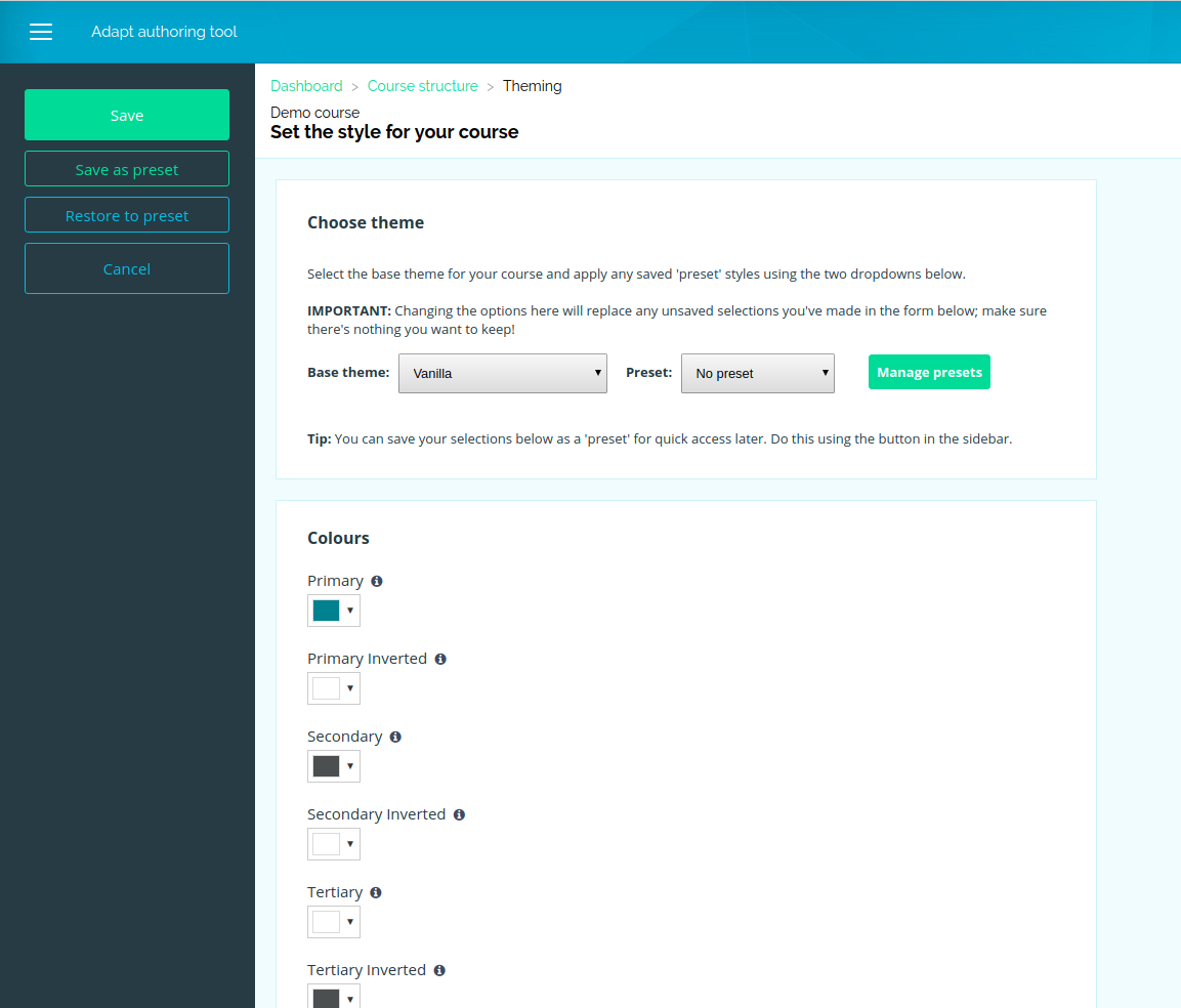Screen shot from the Adapt authoring tool showing the theme editing page